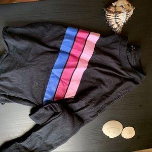 Rue21 Striped Black Cropped Long Sleeve